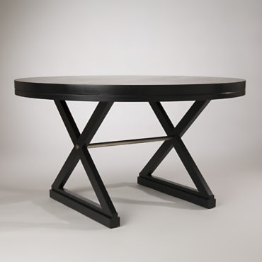 Black stained, rift sawn White Oak Pasteur table with sculptural base